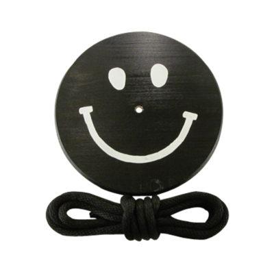 black white smiley face wood tree swing for children