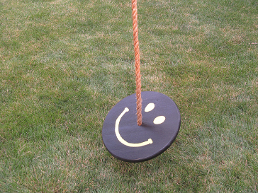 black and yellow tree swing with brown tree swing rope