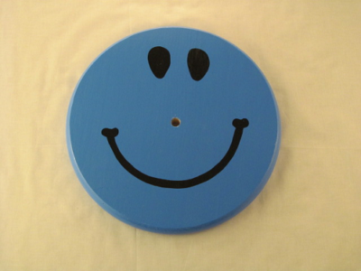 wood tree swing for children - blue smiley face