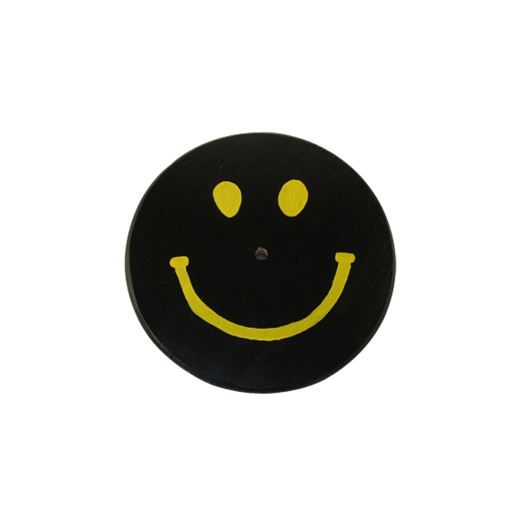 black and yellow smiley face swing seat