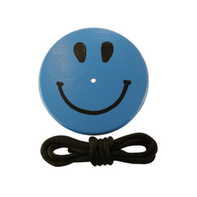 wood tree swing for kids and children - blue smiley face