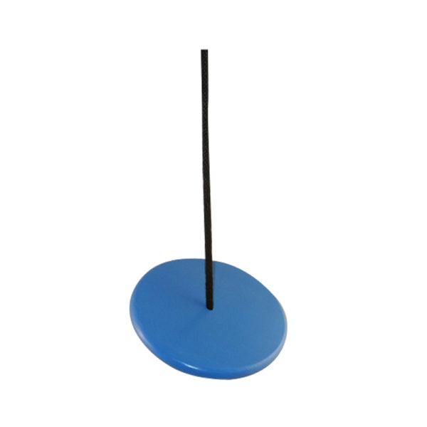 blue wood disc tree swing