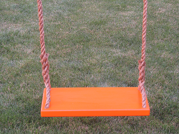 Tree swings for adults - orange-adult-classic-wood-tree-swing-with-brown-rope