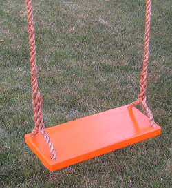 kids tree swing - orange-kids-classic-wood-tree-swing-with-brown-rope