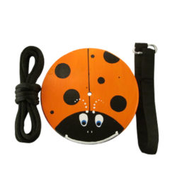 Kids Tree Swing - orange-lady-bug-wood-disc-swing-kit