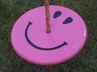 purple smiley face wood tree swing for kids