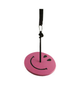 wood tree swings for kids - purple smiley face