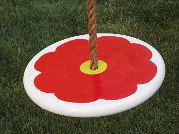Kids tree swing - red-flower-brown-rope-2