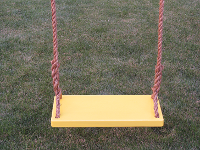 yellow wood tree swing for adults