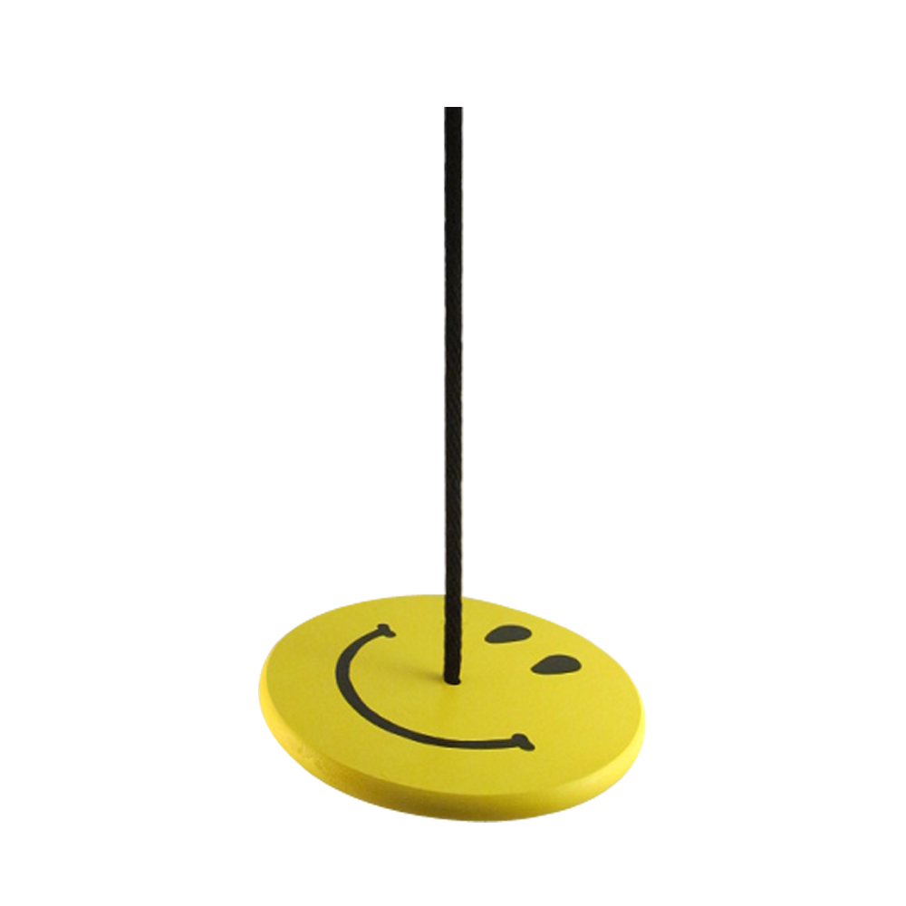 Yellow smiley face wooden kids tree swing